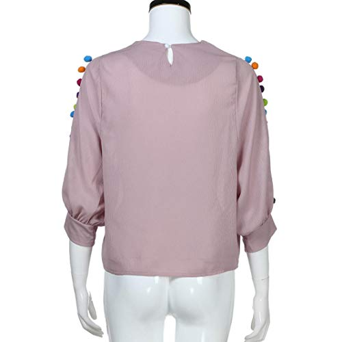 Pull Top Sport Basique Femme Rose Sweats Femmes Hauts Guesspower Chemise Tops Solide Chemisier Casual Manches Shirts Longues Chemiser Blouse Simple AOvwxx5Uq6