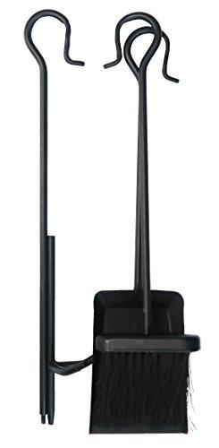 Mr. Bar-B-Q 08610YFS 3Piece Firepit Tool Set, Black (Fireplace Crook Set Tool)
