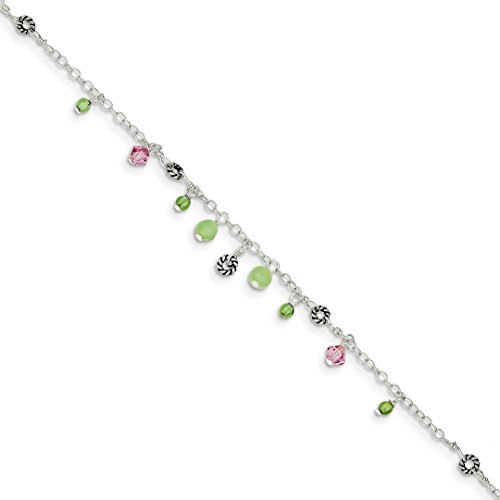 ICE CARATS 925 Sterling Silver Pink Crystal/green Quartz Green Peridot Bead Ankle Bracelet Anklet Beach Chain Fine Jewelry Ideal Gifts For Women Gift Set From Heart