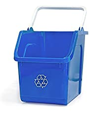 good natured Handy Recycler, 6 Gallon / 25 Liter – Stackable Recycling Bin for Kitchen or Office - Plant Based, BPA-Free Recycling Container with Handle, Blue