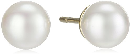 Gold Tone Vermeil Earrings (Majorica 6mm Pearl Stud Earrings)