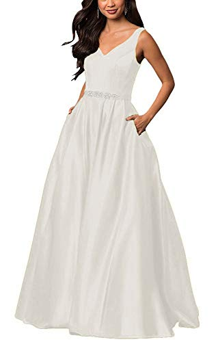 yinyyinhs Women's V Neck Prom Dresses A Line Long Beaded Evening Formal Gowns with Pockets Size 2 Ivory