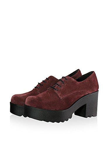 piel cm de Burdeos de 7 señora Zapatos serraje goma suela de de plataforma en con tacón wggzqHtn