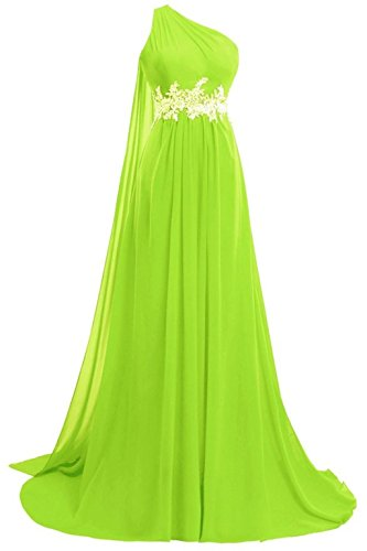 Fanciest Women's Chiffon Long One Shoulder Prom Dresses 2020 Evening Formal Gown Lime Green US14