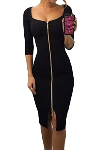 Dresses Coolred Bodycon Black Sexy Zipper Fitted Longline Women Slim 0g0zxSRn