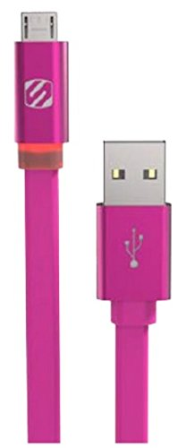 SCOSCHE I3FLED6PK FlatOut LED MFI Certified Lightning Charge & Sync Cable for All Lightning Devices 6-ft. Pink ()