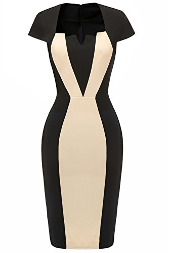 Avril Dress Stunning Colorblock Mother of The Bride Dress Party Bodycon Dresses Knee Length with Short Sleeves-M-White