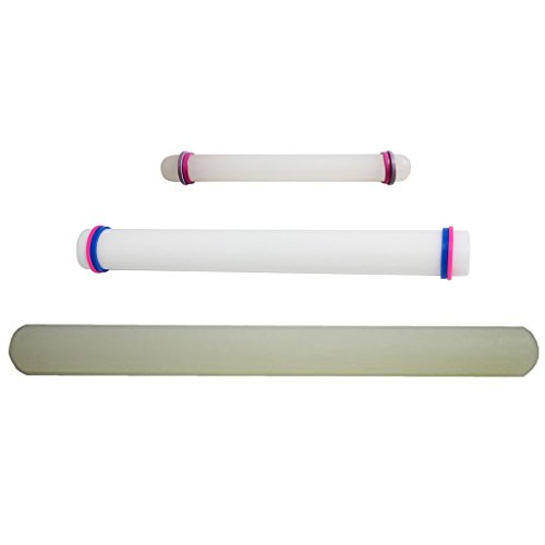 KurtzyTM Set Of 3 Smooth Rolling Pins- 23cm/33cm/50cm- With Guide Rings For Cake Decorating, Icing - Rolling Pin Lefse
