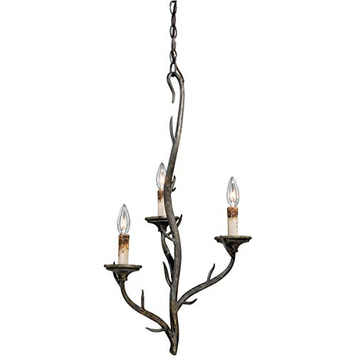 Mini Chandeliers 3 Light Fixtures with Autumn Patina Finish Steel Material Candelabra 16