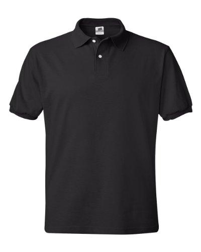 Hanes Mens 5.2 oz Hanes STEDMAN Blended Jersey Polo, 2XL-Black