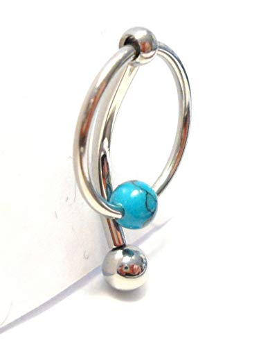 3/8 inch Turquoise Stone Hoop Dangle Barbell Bar VCH Clit Clitoral Hood Ring 14 Gauge 14g