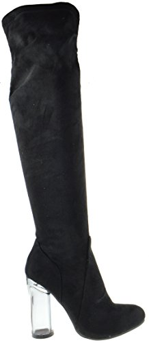 Womens Clear Black Almond Knee The Over Heel Clear Boots 48 Drawstring Toe 1qwTXWTP5