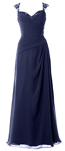 MACloth Women Cap Sleeves Long Mother of Bride Dress Open Back Party Formal Gown Dunkelmarine EAgQ8D