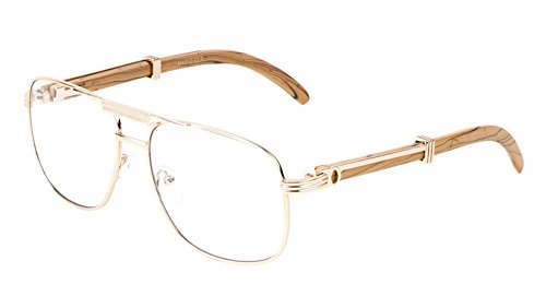 Executive Metal & Wood Aviator Eyeglasses / Clear Lens Sunglasses - Frames (Rose Gold & Light Brown Wood, - Men Frames Designer