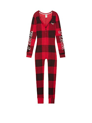 Victoria Secret. Victoria's Secret Pink Holiday Sleep Thermal Bling Pajama Long Jane One Piece Red Buffalo Check Small