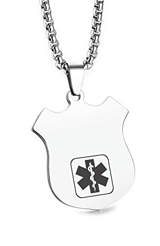 JF.JEWELRY Customize Stainless Steel Shield Shape Medical Alert ID Dog Tag Pendant Necklace for Men and Women-Silver