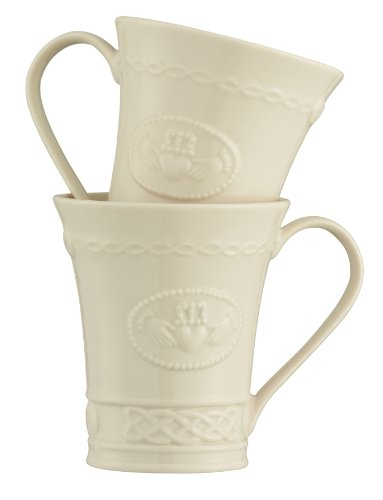 Belleek Group 4131 Claddagh Mug, 10-Ounce, Ivory, Set of ()