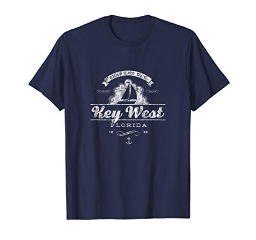 Key West FL Sailboat T-Shirt Vintage Nautical Throwback ()