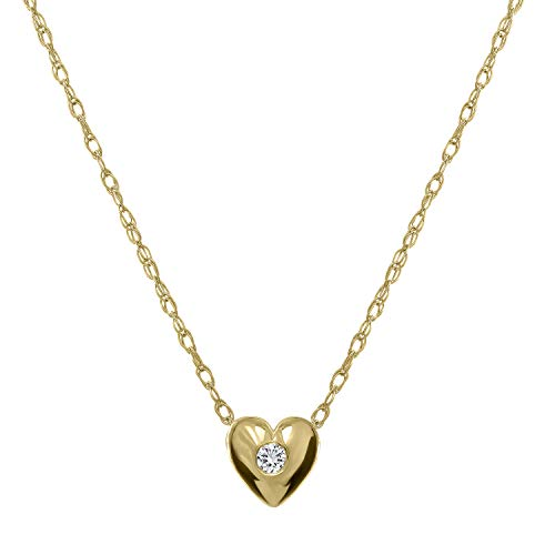 "14K Gold Heart Solitaire Diamond Pendant Necklace with Bezel Set 0.03ct Round Cut Diamond (F Color, SI1 Clarity) and 16"" Solid 14K Gold Rope Chain"
