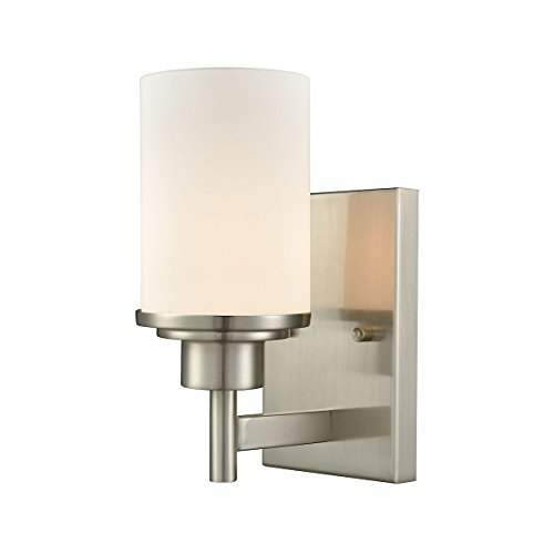 Elk Lighting CN575172 Belmar 1-Light for The Bath in Brushed Nickel with Opal White Glass Vanity Wall Sconce, ()