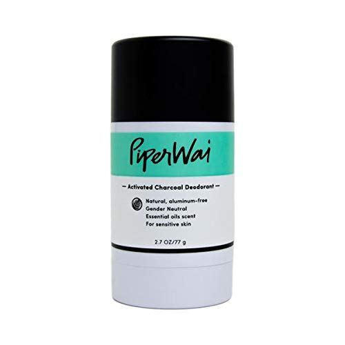 PiperWai Natural, Organic, Vegan, Non-Toxic, Cruelty-Free Aluminum-Free Charcoal Deodorant Stick (2.7 oz), Odor-Absorbing and Wetness Fighting, Coconut Oil, Gender-Neutral (As Seen on Shark Tank) ()