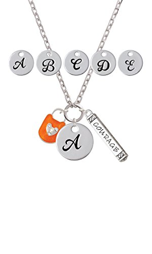 Hot Orange Enamel Lock - Hot Orange Enamel Lock with Clear Crystals Custom Initial Courage Strength Zoe Necklace