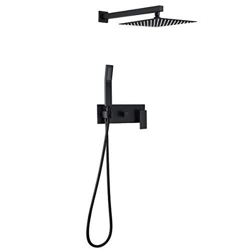 RBROHANT Wall Mounted Matte Black Bathroom Rain Shower System Brass Valve Body High Pressure Rainfall Shower Head Set Hand Shower Combo Set With Luxury Rain Mixer (10 Inch-Black Matte-03B)