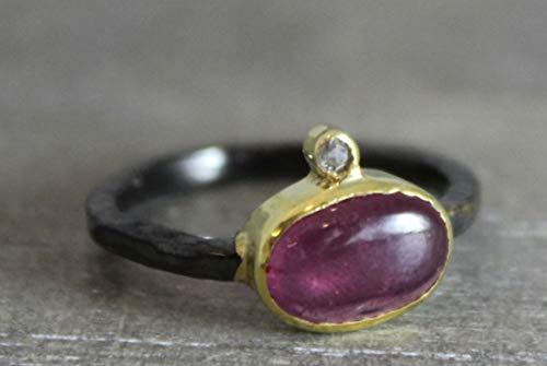 Pink Toumaline Gemstone and Diamond Oxidized 925 Sterling Silver Ring, size 6.5