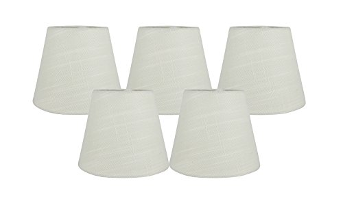 Meriville Set of 5 Eggshell Linen Clip On Chandelier Lamp Shades, 4-inch by 6-inch by 5-inch