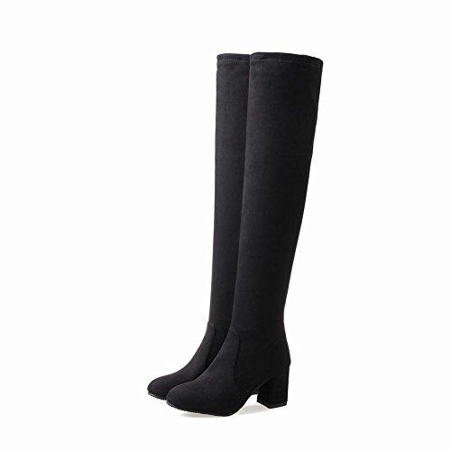 Charm Foot Womens Comfort Zipper Chunky Tacco Alto Sopra Gli Stivali Al Ginocchio Nero