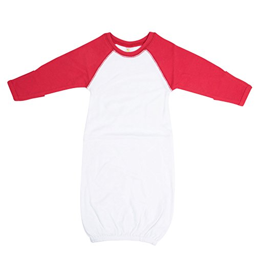 Laughing Giraffe The Raglan Baseball Baby Gown with Foldover Mittens (White/Red)