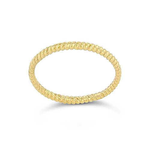 Dainty 10k Yellow Gold Stackable Thin Rope Ring