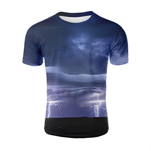 Storm Clouds Sleeve Summer Cool Thunder and rain T-Shirt 3D Print T Shirt Tops Tshirt Men