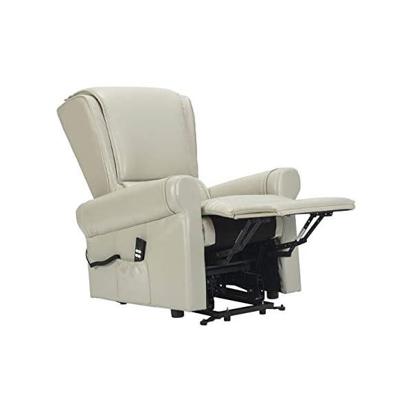 Sime – Fauteuil Relax avec releveur et Inclinaison indépendante. Revêtement en Cuir véritable Zar-2M-PEWHI Blanc Cuir CE…