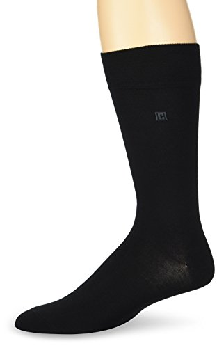 Chaps Mens Solid Crew Socks with Embroidered Logo (3 Pack)