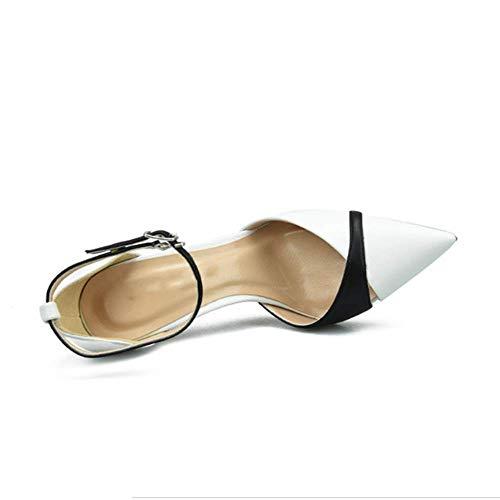 Colore spillo Alto Fibbia donna Bianco bianco punta a 44 Donna opaco alti assortita Sandali Tacchi Parola a con semplici scarpe Tacco per wEqA4Bxw