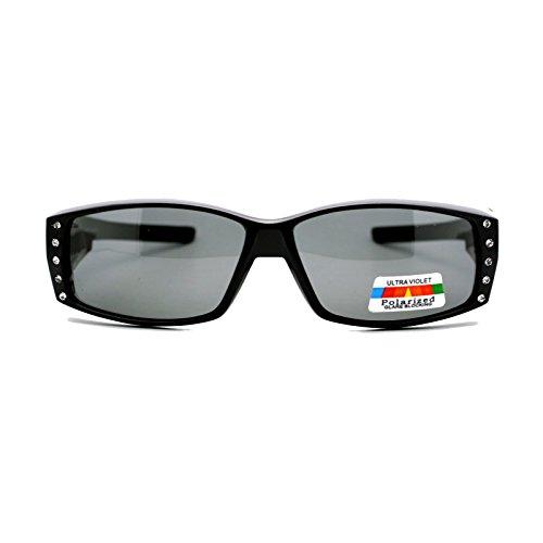Womens Rhinestone Rectangular Polarized Fit Over Glasses Sunglasses (All Black, ()