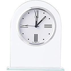 Howard Miller Regent Table Clock 645-579 - Modern Glass Arch with Quartz Alarm Movement