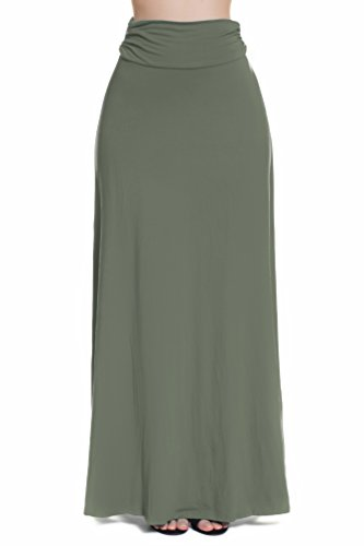 Instar Mode Women's Fold Over Maxi Skirt (S41516 Olive, Small)