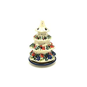 Polish Pottery Christmas Tree Luminary – Medium (7″) – Garden Party
