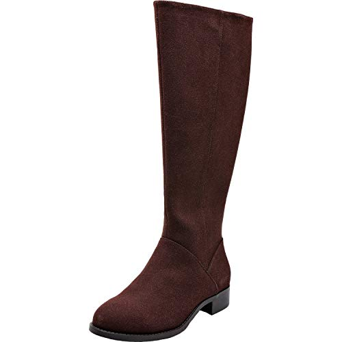 (Aukusor Women's Wide Width Knee High Boots - Wide Calf Low Heel Sanding Upper Elastic Band Side Zipper Winter Boots.(180905 Brown 6WW))