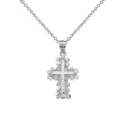Solid 14k White Gold Nugget Cross Crucifix Religious Pendant Necklace (Small), 20