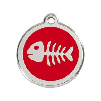 Red Dingo Custom Engraved Enamel Tag - Fish Skeleton (red, small) - Engraved Fish