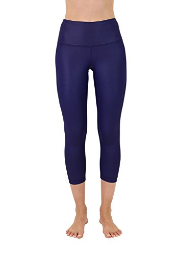 90 Degree By Reflex High Waist Disco Pants - Shiny Hi-Rise Capri Leggings - Blue Depths - -