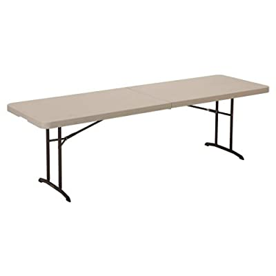 Lifetime 8 ft. Rectangle Commercial Fold-In-Half Table - Almond 80175