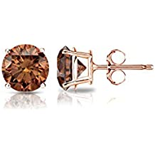14k Gold Round Brown Diamond 4-Prong Basket Stud Earrings (1/4 - 2 ct, Brown, SI1-SI2) Push-Back