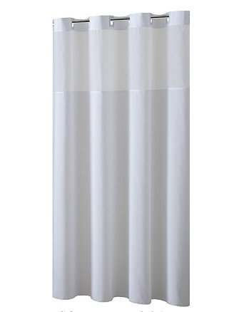 Hookless Shower Curtain with Removed Fabric Inner Liner & Magnet 70.8 x 74 Inch Polyester Bath Curtain with Light-Filtering Mesh Screen Anti Mildew ABS Flex-On Rings White