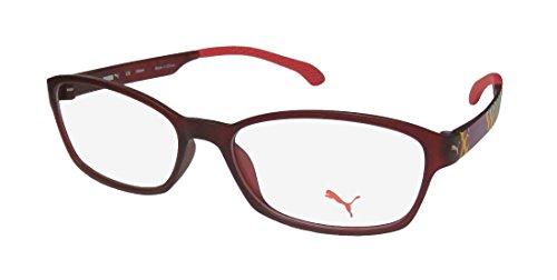 Puma 15439 Womens/Ladies Designer Full-rim Eyeglasses/Eyeglass Frame (50-15-135, Burgundy / Multicolor) (Burgundy Eyeglasses Frame)