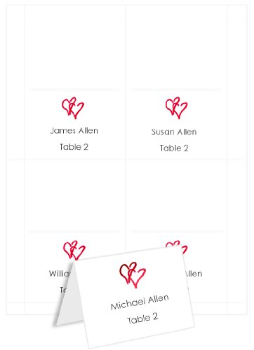 Printable Red Heart - 4up Printable Hearts Place Cards - White Red, 25 pack