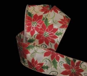 (5 Yards Christmas Gold Glitter Accented Red Poinsettia Ivory Wired Ribbon 2 1/2